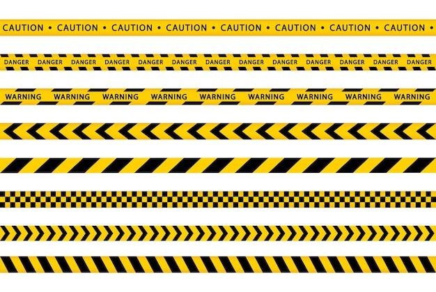 Conjunto de fita amarela de advertência. bordas de listras. perigo, cautela, listras policiais. barricada de fitas sem emenda.