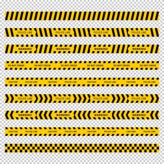 Conjunto de fita amarela linha policial