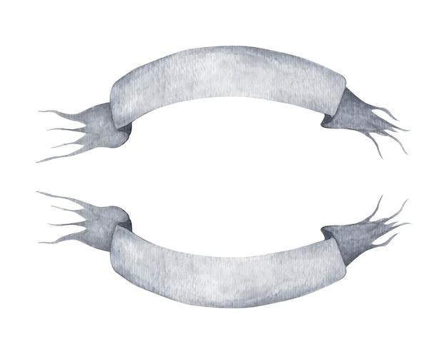 Conjunto de fita cinza em fundo branco. bandeira de ondulação cinza ou banner.
