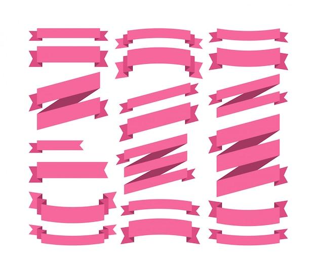 Conjunto de fita colorida de vector design plano