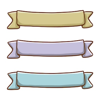 Conjunto de fita colorida desenhada à mão