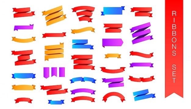 Conjunto de fita colorida plana leigos isolado fundo branco