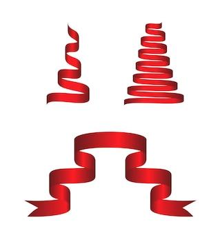 Conjunto de fita curva colorida vermelha em fundo branco