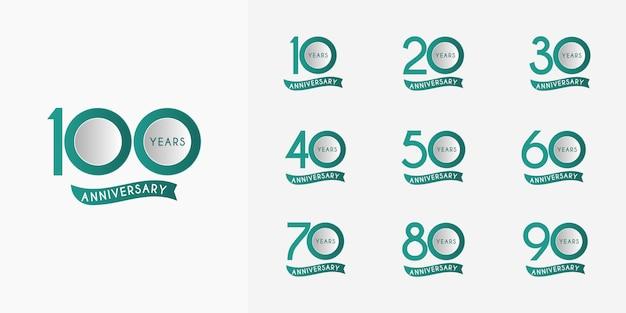Conjunto de fita de 10 a 100 anos de aniversário
