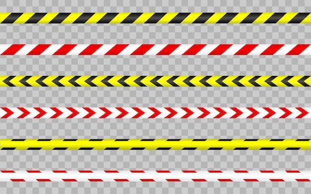 Conjunto de fita de advertência. bordas de listras. perigo, cautela, listras policiais. barricada de fitas sem costura.