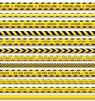 Conjunto de fita de polícia preto amarelo vector