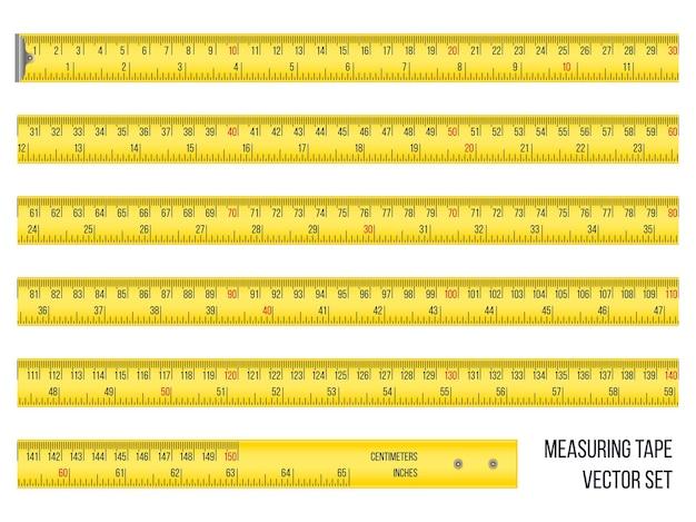 Conjunto de fita métrica em centímetros e polegadas