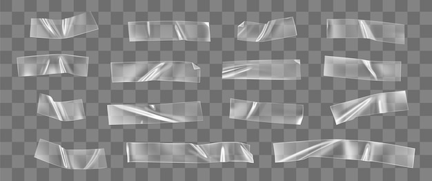 Conjunto de fita plástica adesiva transparente isolado. tapete pegajoso com cola amassada. tiras enrugadas isoladas