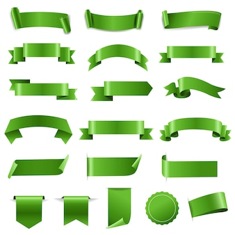 Conjunto de fita verde e fundo branco de etiquetas