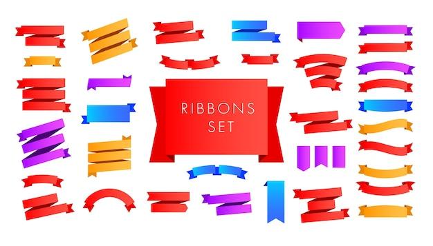 Conjunto de fita vermelha, azul, lilás para cartaz, cartão, cabeçalho, site.