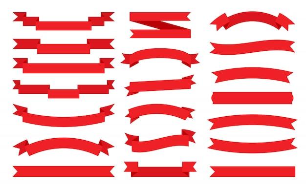 Conjunto de fita vermelha plana.