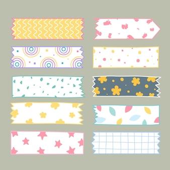 Conjunto de fita washi desenhada à mão