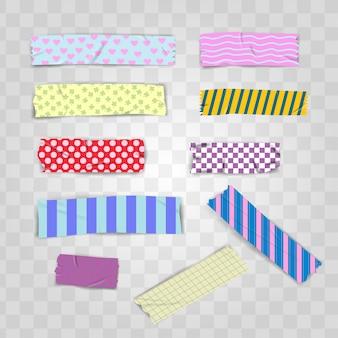 Conjunto de fita washi escocês padrão colorido realista