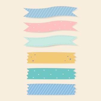 Conjunto de fitas adesivas estampadas coloridas