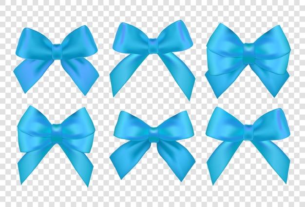 Conjunto de fitas. arcos de presente azul com fitas. fitas e laços azuis de presente.