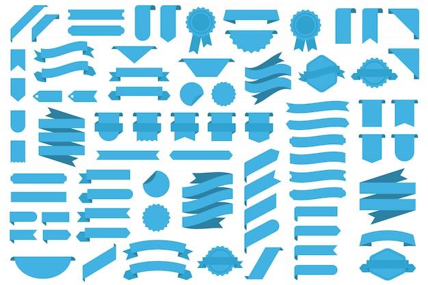 Conjunto de fitas azuis, emblemas e medalhas