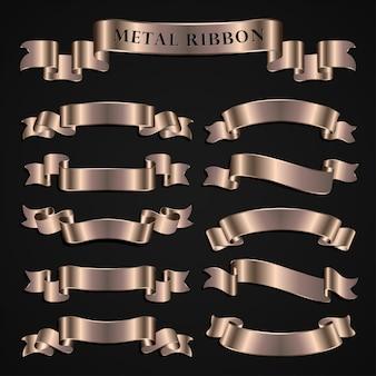 Conjunto de fitas bronzeadas de metal de luxo