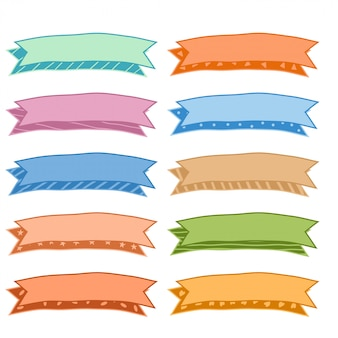 Conjunto de fitas coloridas coloridas de mão desenhada de dez