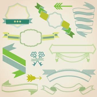 Conjunto de fitas coloridas e emblemas