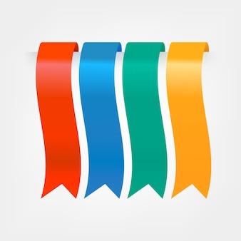 Conjunto de fitas coloridas ou marcadores.