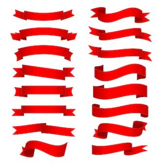 Conjunto de fitas curvas brilhantes vermelhas