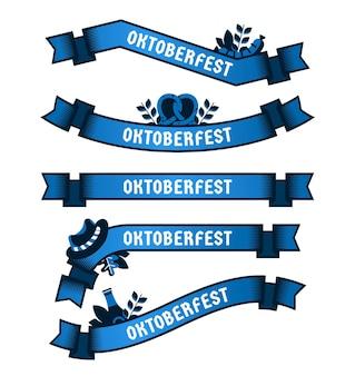 Conjunto de fitas da oktoberfest de design plano
