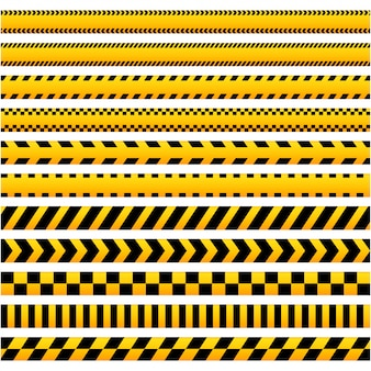 Conjunto de fitas de barreira de cuidado preto e amarelo