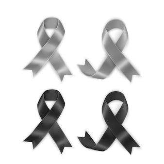 Conjunto de fitas de conscientização de preto e cinza. símbolo de luto e melanoma
