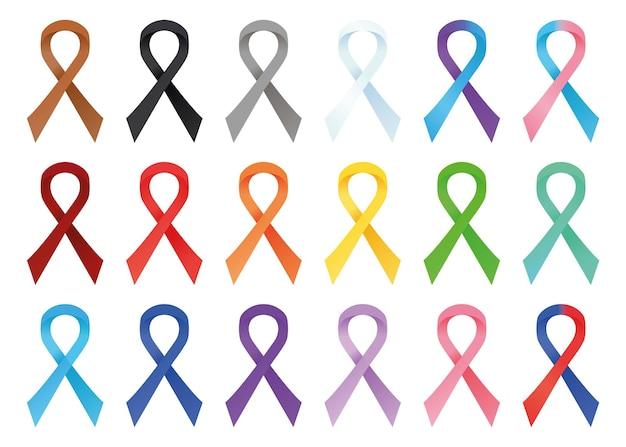Conjunto de fitas de conscientização em cores diferentes conceito do dia da solidariedade