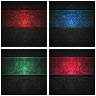 Conjunto de fitas de cor de textura de tecido de ornamento