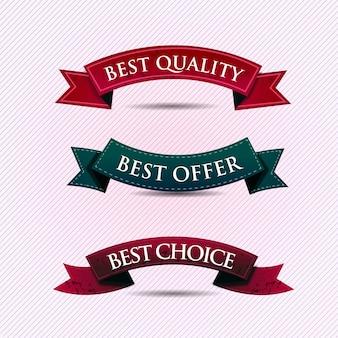 Conjunto de fitas de garantia de qualidade e satisfação