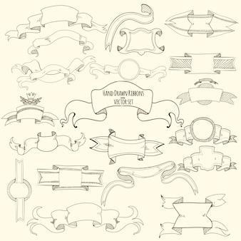 Conjunto de fitas de mão desenhada
