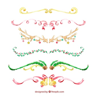 Conjunto de fitas de natal de aquarela