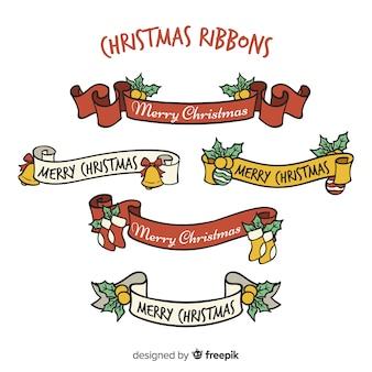Conjunto de fitas de natal de mão desenhada