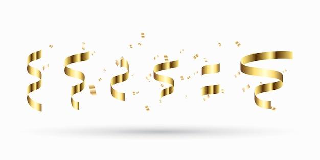 Conjunto de fitas de ouro. decoração de ano novo