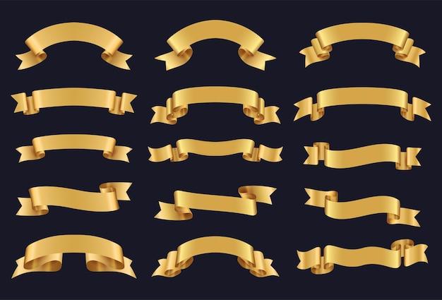 Conjunto de fitas de ouro. decoração de produtos premium. etiquetas e plano de fundo para seu texto. ilustração vetorial