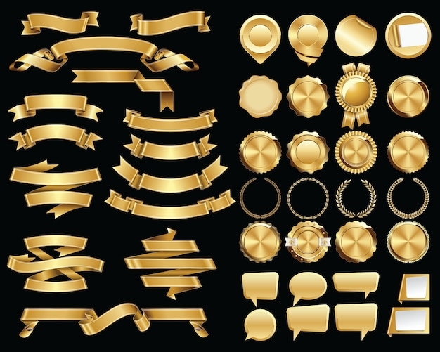 Conjunto de fitas de ouro e selos e emblemas de certificado