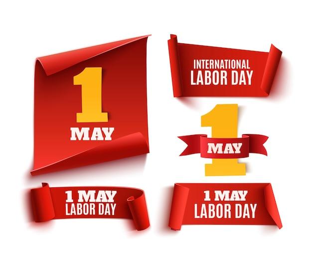 Conjunto de fitas de papel vermelhas realistas de 1 de maio