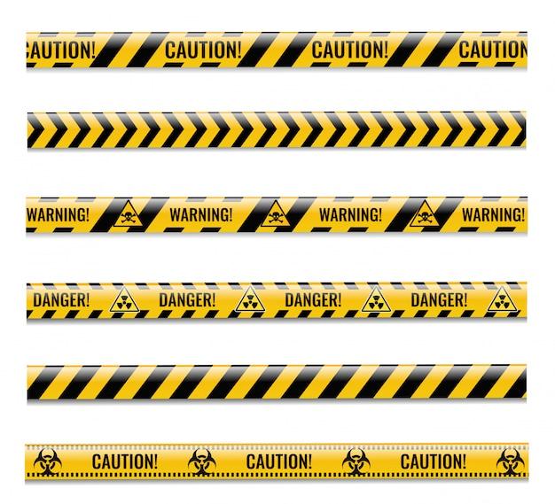 Conjunto de fitas de perigo com fundo branco isolado
