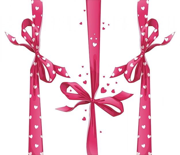 Conjunto de fitas de presente vermelho com arcos. padrão de coração.