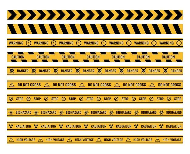 Conjunto de fitas de proibição e advertência ilustração plana de perigo