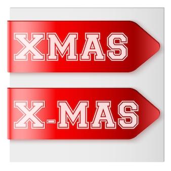 Conjunto de fitas de rótulo vermelho de natal.