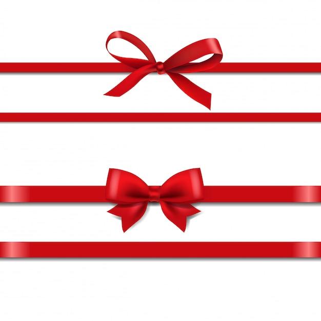 Conjunto de fitas de seda vermelho isolar em branco