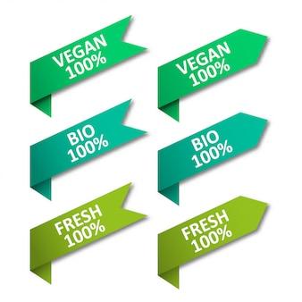 Conjunto de fitas de tags. vegan, bio, fresco