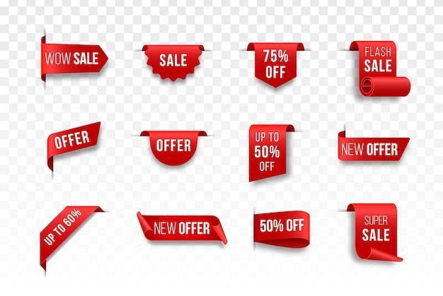 Conjunto de fitas de teia vermelha fitas de scroll enrolado