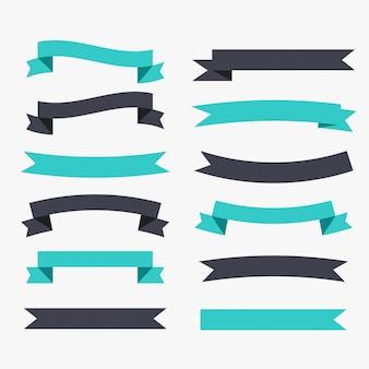 Conjunto de fitas decorativas em preto e turquesa