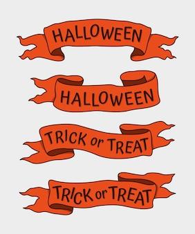 Conjunto de fitas desenhadas à mão para o halloween