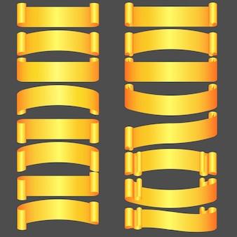 Conjunto de fitas douradas de felicitações de diferentes formas,