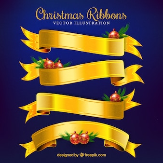 Conjunto de fitas douradas de natal