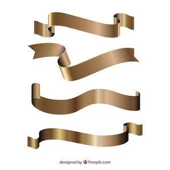 Conjunto de fitas douradas decorativas
